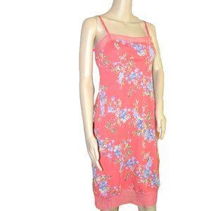 BCBG Coral Pink Purple Blue Slip Sheath Dress M